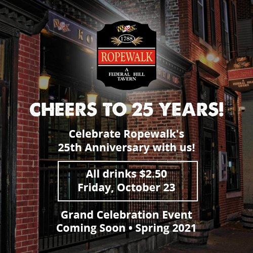 25th Anniversary pop-up $2.50 all drinks